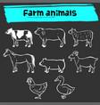 farm animal doodle sketch icon set vector image