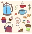 Hand drawn set of tea essentials - cups vector image