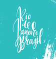 Inscription Rio de Janeiro Brazil background blue vector image