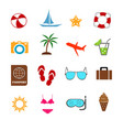 summer vacation in colorful icons set vector image