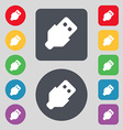 USB icon sign A set of 12 colored buttons Flat vector image