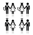 Wedding couple - devil and angel bride and groom vector image