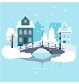 Winter Urban Landscape Flat Design vector image