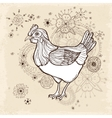 Hand drawn vintage card with chicken vector image