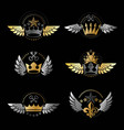 royal crowns and vintage stars emblems set vector image