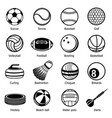 sport balls equipment icons set simple style vector image