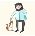 Businessman hipster man with dog color vector image