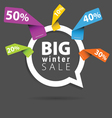 winter sale with speech bubble and sticker percent vector image