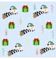 Christmas seamless pattern with snowman vector image