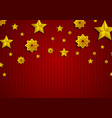 golden stars and snowflakes on red knitted vector image