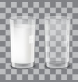 realistic transparent glasses of milk vector image