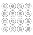 set round line icons of gambling vector image