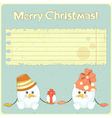 Two snowmen and place for greetings vector image vector image