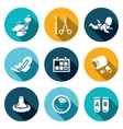 Set of Abortion Icons Equipment Surgery vector image