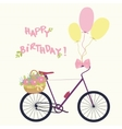 Bicycle with basket flowers and balloons vector image