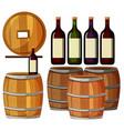 Wine bottles and wooden barrels vector image vector image