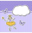 Little girl with paper cloud and butterflies vector image