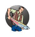 Fisherman Salmon Fish Retro vector image vector image