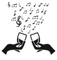 glass cup cheers with music note vector image vector image