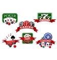 Casino jackpot and poker gambling icons vector image