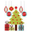 christmas tree gifts balls hanging decoration vector image