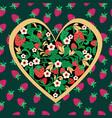 decorative strawberry folk ornament made of heart vector image