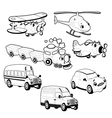 Funny vehicles in outline vector image