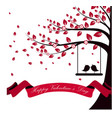 Valentine day with tree autumn and pink ribbon on vector image