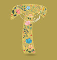 yellow letter t with floral decor and necklace vector image