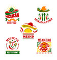 mexican fast food restaurant emblem set design vector image
