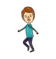 color crayon stripe cartoon full body guy with vector image