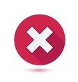 cross sign on red button with shadow vector image
