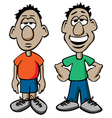 Cartoon Males with Happy and Sad Expressions vector image