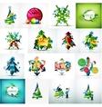 Set of various geometric abstract Christmas vector image