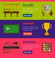billiard game equipment banner horizontal set vector image