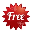 Free tag red round star floral sticker vector image