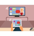 Multiscreen interaction Woman is purchasing red vector image