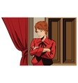 People retro style Girl near curtains in theater vector image
