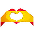 two palms make heart shape spanish flag vector image