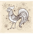 Hand drawn vintage card with rooster vector image