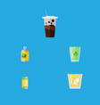flat icon drink set of beverage lemonade cup and vector image