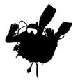 Black silhouette scuba divers vector image