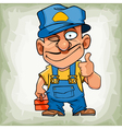 cartoon funny man plumber in uniform showing thumb vector image