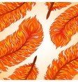 Seamless background with fiery feathers vector image vector image