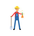 happy male farmer cartoon character in overalls vector image
