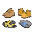 men shoes types sandals or boot sneakers vector image