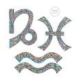 zodiac signs set capricorn aquarius pisces vector image