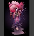 graphic geisha with umbrella vector image