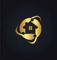 home circle protect technology gold logo vector image