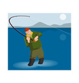 Fly Fisherman Rod and Reel Retro vector image